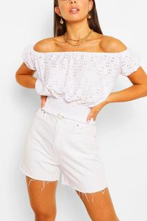 boohoo - Womens Stretch Broferie Shirred Of The Shoulder Top - White - 16, White