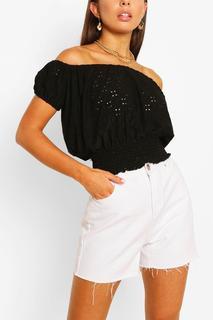 boohoo - Womens Stretch Broferie Shirred Of The Shoulder Top - Black - 8, Black