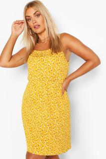 boohoo - Womens Plus Ditsy Floral Strappy Sundress - Yellow - 22, Yellow