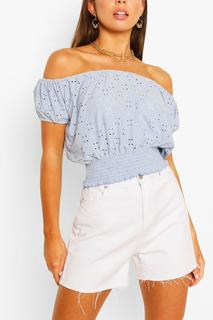 boohoo - Womens Stretch Broferie Shirred Of The Shoulder Top - Blue - 12, Blue