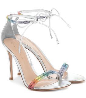 Gianvito Rossi - Verzierte Sandalen aus Metallic-Leder