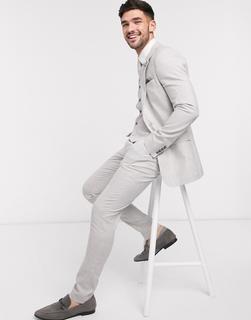 ASOS DESIGN - Wedding – Superenge Anzughose aus Baumwoll-Leinenmix mit Stretchanteil, Grau kariert
