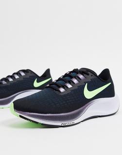 Nike Running - AirZoomPegasus37 – Sneaker in Schwarz und Hellgrün