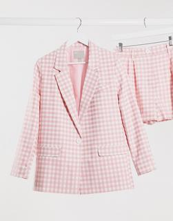 ASOS DESIGN - 3teiliger, karierter Anzug-Blazer in Rosa-Mehrfarbig