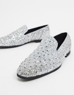 ASOS DESIGN - Loafer mit Nieten in Silber glitzernd