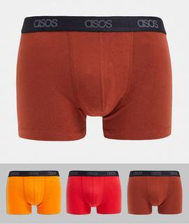 ASOS DESIGN - 3er Pack Slips mit Logo-Bund-Rot