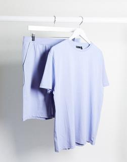 ASOS DESIGN - Lounge-Pyjama mit T-Shirt und Shorts in Pastell-Lila-Violett