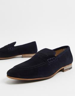 Topman - Loafer aus marineblauem Wildleder-Navy