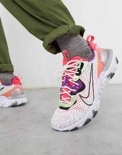 Nike - React Vision – Sneaker in Gebrochenem Weiß/Rosa