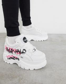 Buffalo - Klassische Sneaker mit dicker Sohle und Graffiti-Logo-Weiß
