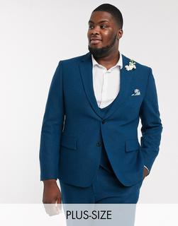 Harry Brown - Plus – Wedding – Schmale, sommerliche Anzugjacke aus Tweed-Blau