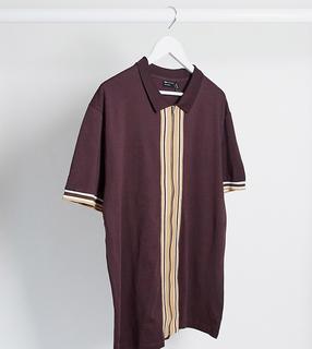 ASOS DESIGN - Plus – Jerseyhemd mit Retro-Paspeln und durchgehendem Reißverschluss in Bordeaux-Rot