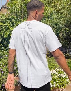 Religion - Weißes Oversize-T-Shirt aus Bio-Baumwolle-Schwarz