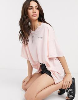 Free People - Cozy Cool Girl – Lounge-T-Shirt in Koralle-Rosa