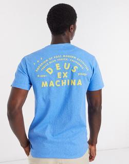 Deus Ex Machina - Roller VeniceAddress – Blaues T-Shirt mit Rückenprint