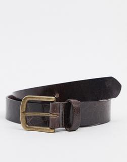 ASOS DESIGN - Schmaler brauner Ledergürtel mit goldfarbener Schnalle im Vintage-Look