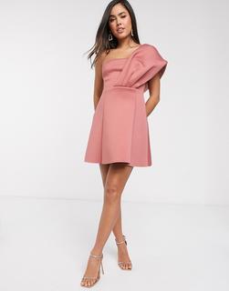 ASOS DESIGN - Aline – One-Shoulder-Minikleid aus rosa Neopren