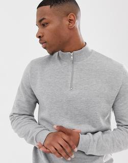ASOS DESIGN - Kalkgraues Sweatshirt mit halblangem Reißverschluss