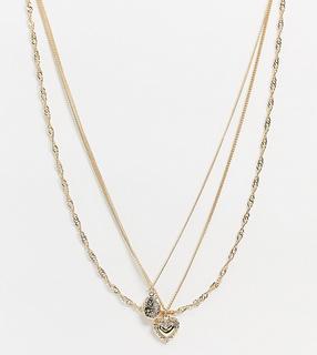 Reclaimed Vintage - Inspired – Mehrreihige, goldfarbene Halskette mit Medaillon- und Herzanhänger