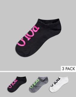 Polo Ralph Lauren - 3er-Set Socken mit neonfarbenem Design-Schwarz