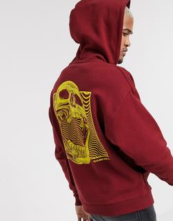 ASOS DESIGN - Oversize-Kapuzenpullover in Burgunder mit Totenkopf-Print am Rücken-Rot