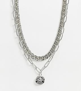 Reclaimed Vintage - Inspired – Mehrreihige Halskette mit Medaillon-Anhänger in Silber