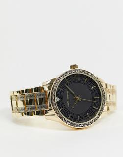 ASOS DESIGN - Goldfarbene Armbanduhr mit griechischem Wellendesign