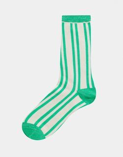Selected - Femme – Socken in Grün und Creme gestreift-Mehrfarbig