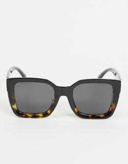 Pieces - Übergroße, eckige Sonnenbrille in Schwarz und Schildpatt-Optik mit Farbverlauf-Mehrfarbig