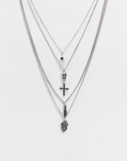 Reclaimed Vintage - Inspired – Mehrreihige Halskette mit unterschiedlichen Gothic-Anhängern in Silber poliert