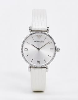 Emporio Armani - Armbanduhr mit Lederarmband-Silber