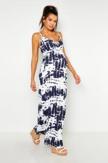 boohoo - Womens Maternity Tie Dye Maxi Dress - White - 14, White
