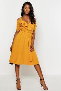 boohoo - Womens Cold Shoulder Ruffle Belted Midi Dress - Yellow - 12, Yellow