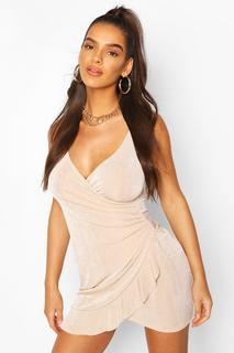 boohoo - Womens Ruched Side Frill Hem Mini Dress - Beige - 8, Beige