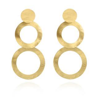 LOTT.gioielli - Ohrringe - Earrings Double Round Open Matt Yellow Gold - in gelbgold - für Damen
