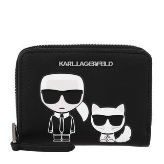KARL LAGERFELD - Portemonnaie - Karl Ikonik Small Folded Zip Wallet Black - in schwarz - für Damen