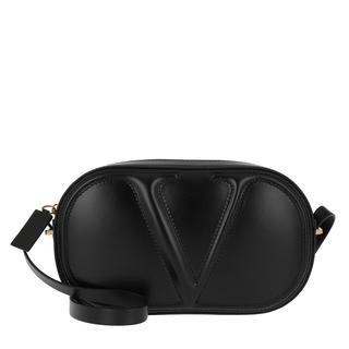 Valentino - Umhängetasche - Logo Crossbody Bag Plain Leather Nero - in schwarz - für Damen