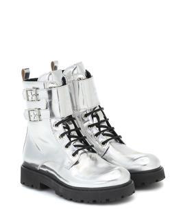 Balmain Kids - Ankle Boots aus Metallic-Leder