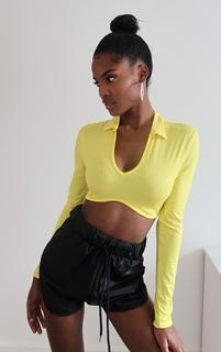 PrettyLittleThing - Yellow Jersey Polo Collar Curve Hem Crop Top, Yellow