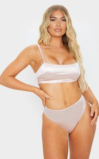 PrettyLittleThing - Nude Satin Square Neck Bralette, Pink