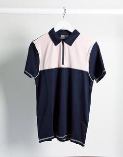 ASOS DESIGN - Enges Polohemd mit Reißverschluss am Kragen und kontrastierender Passe in Marine-Navy