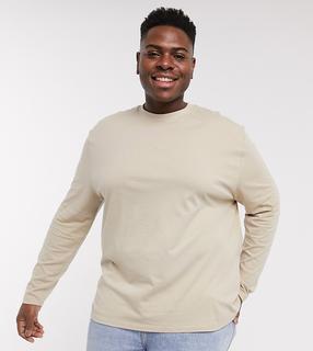 ASOS DESIGN - Plus – Legeres, langärmliges Shirt in Beige