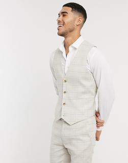 ASOS DESIGN - Wedding – Superenge, karierte Anzugweste aus elastischem Baumwollleinen in Stone