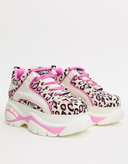 Buffalo - London – Niedrige Sneaker in Weiß und Rosa mit Leopardenmuster-Mehrfarbig
