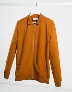 ASOS DESIGN - Harringtonjacke aus Jersey in Muskelform in Dunkel-Orange-Braun