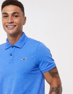 Hollister - Schmales Polohemd in Blau mit klassischem Logo