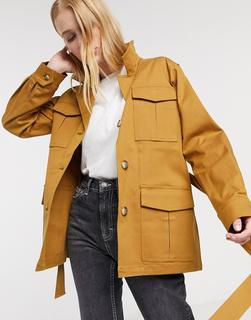 Selected - Milla – Braune Satin-Jacke mit Taillenband, Kombiteil