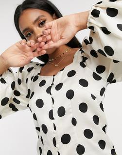 Vero Moda - Bluse mit eckigem Ausschnitt in Weiß mit Tupfen-Mehrfarbig