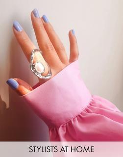 Topshop - Silberfarbener Ring mit abstraktem Zierausschnitt und Perle