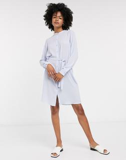 Vero Moda - Blaues Jerseykleid mit Bindegürtel